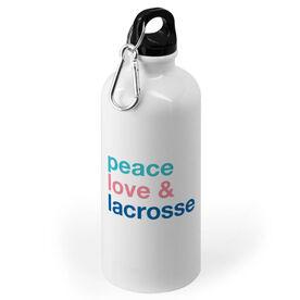 Girls Lacrosse 20 oz. Stainless Steel Water Bottle - Peace Love & Lacrosse