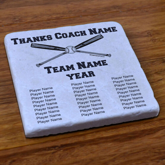 Baseball Stone Coaster Thanks Coach With Team Roster