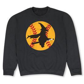Softball Crew Neck Sweatshirt - Witch Riding Softball Bat