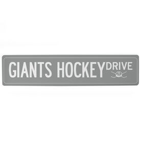 """Hockey Aluminum Room Sign - Custom Text With Number (4""""x18"""")"""