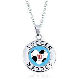 Soccer Circle Necklace - Ball Heart And Number