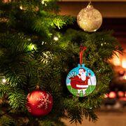 Lacrosse Round Ceramic Ornament - Santa