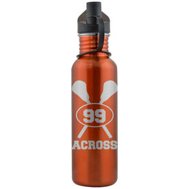 Lacrosse Crossed Sticks and Player Number 24 oz Stainless Steel Water Bottle
