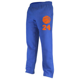 Basketball Fleece Sweatpants Basketball Icon with Number