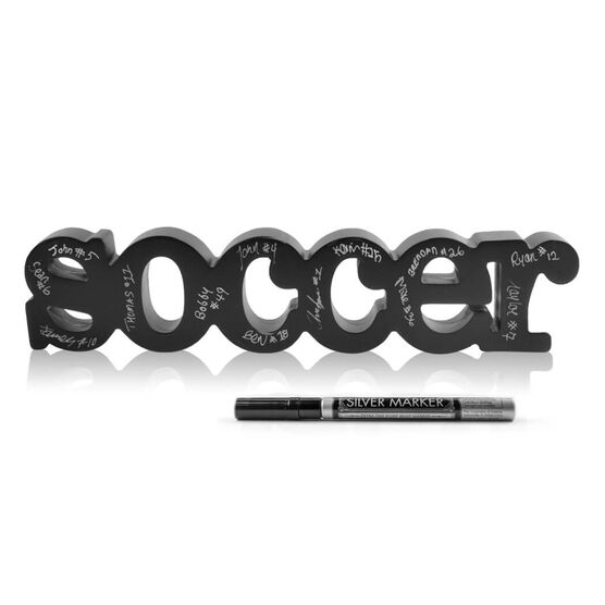 Soccer Wood Words Ready For Team To Autograph