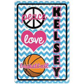 "Basketball Aluminum Room Sign Personalized Peace Love Basketball Chevron (18"" X 12"")"