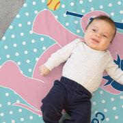 Softball Baby Blanket - Softball Elephant with Bow