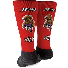 Seams Wild Wrestling Printed Mid-Calf Socks - Herdya
