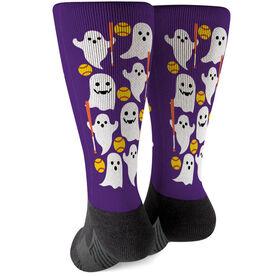 Softball Printed Mid-Calf Socks - Softball Ghosts