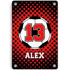 Soccer Metal Wall Art Panel - Personalized Soccer Ball with Dots Background