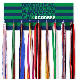 Guys Lacrosse Hooked on Medals Hanger - Bones Saying