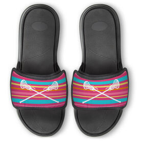 Girls Lacrosse Repwell® Slide Sandals - Crossed Sticks with Stripes