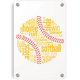 Softball Metal Wall Art Panel - Softball Inspiration Words