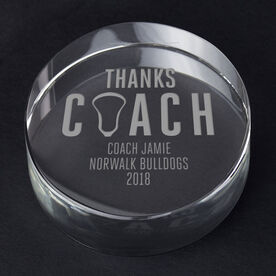 Guys Lacrosse Personalized Engraved Crystal Gift - Thanks Coach