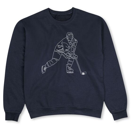Hockey Crew Neck Sweatshirt - Hockey Player Sketch