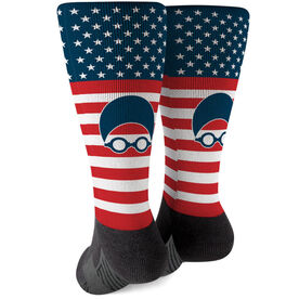 Swimming Printed Mid-Calf Socks - USA Swim