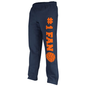 Volleyball Fleece Sweatpants #1 Fan with Volleyball