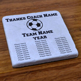 Soccer Stone Coaster Thanks Coach With Team Roster