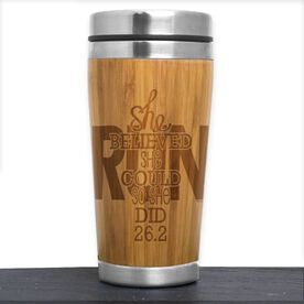 Bamboo Travel Tumbler She Believed She Could So She Did 26.2