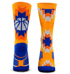 Basketball Woven Mid-Calf Socks - Aztec (Navy/Orange)