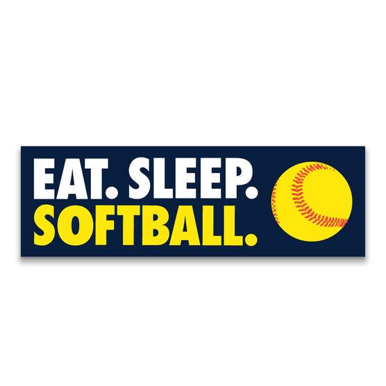 """Softball 12.5"""" X 4"""" Removable Wall Tile - Eat Sleep Softball"""