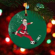 Soccer Porcelain Ornament Santa Kick