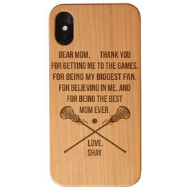 Girls Lacrosse Engraved Wood IPhone® Case - Dear Mom Thank You Heart