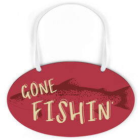 Fly Fishing Oval Sign - Gone Fishin'