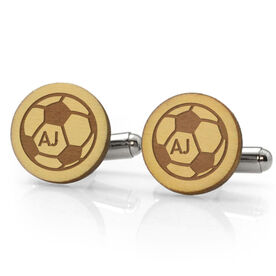 Soccer Engraved Wood Cufflinks Ball with Your Initials