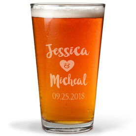 Personalized 16 oz. Beer Pint Glass - Love Our Chic Wedding Text