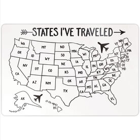 "Personalized 18"" X 12"" Aluminum Room Sign - States I've Traveled Outline"