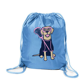 Girls Lacrosse Sport Pack Cinch Sack - Lily The Lacrosse Dog