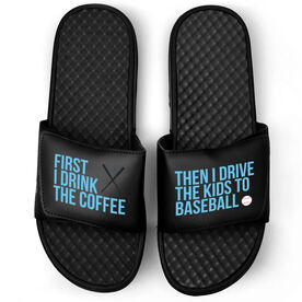 Baseball Black Slide Sandals - First I Drink The Coffee
