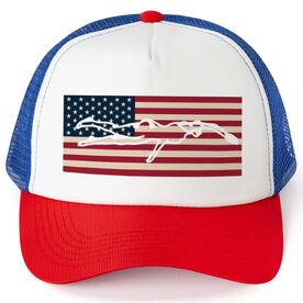 Swimming Trucker Hat - American Swimmer (Girl)