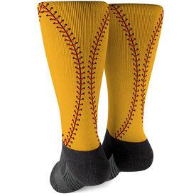Softball Printed Mid-Calf Socks - Color Stitches
