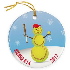 Softball Porcelain Ornament Snowman