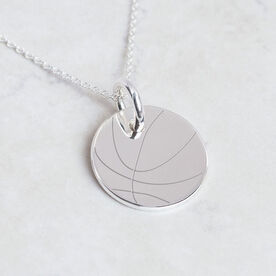 Sterling Silver 20mm Circle Necklace Basketball