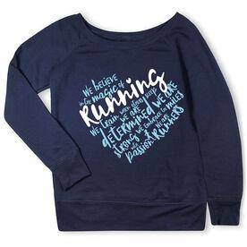 Running Fleece Wide Neck Sweatshirt - Live Love Run Heart