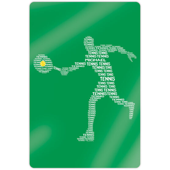 "Tennis 18"" X 12"" Aluminum Room Sign - Personalized Tennis Words Guy"