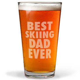 Skiing 16 oz. Beer Pint Glass Best Dad Ever
