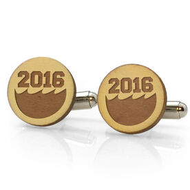 Swimming Engraved Wood Cufflinks Personalized Wave