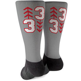 Baseball Printed Mid-Calf Socks - Three Up Three Down