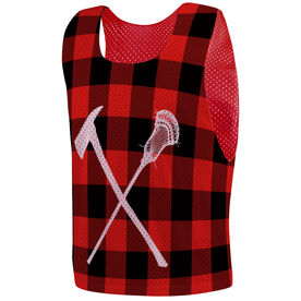 Guys Lacrosse Pinnie - Axe and Stick Plaid