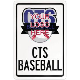 "Baseball Aluminum Room Sign Custom Baseball Logo With Team Name (18"" X 12"")"
