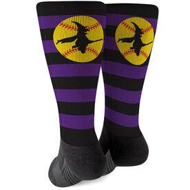 Softball Printed Mid-Calf Socks - Witch Riding Softball Bat