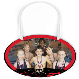 Swimming Oval Sign - Team Photo With Swimmer