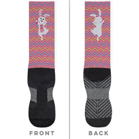 Running Printed Mid-Calf Socks - Easter Bunny Runner