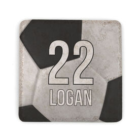Soccer Stone Coaster - Personalized Big Number with Soccer Ball