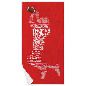 Football Premium Beach Towel - Personalized Words