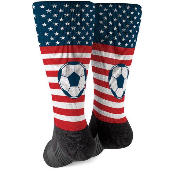 Soccer Printed Mid-Calf Socks - USA Stars and Stripes
